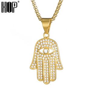 Atacado hop bling ice out olho fatima palm colar para homens cor de ouro 316l amuleto de aço inoxidável pingentes colares jóia muçulmana
