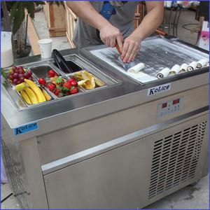 ETL CE Single square pan+ 6 cooling tanks fried ice cream roll machine roll ice cream machine with refrigerant