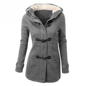 가을 Witner 여성 오버 코트 후드 코트 지퍼 경적 단추 Outwear 여성 자켓 Casaco Feminino 인과 코트 S18101201
