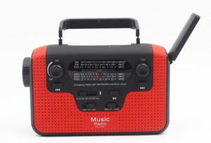 휴대용 태양 라디오 FM 오전 손 크랭크 자체 전원 LED 손전등 + 블루투스 스피커 + USB SD 카드 핸드폰 충전기 긴급 생존 라디오
