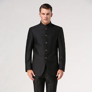 Conjuntos de trajes chinos túnica (jacket + pant) collar del soporte juego masculino chino Tang de los hombres de traje formal novio mandarín usan la ropa étnica tradicional