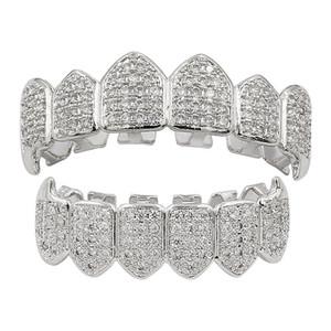 Хип-хоп зубы Grillz набор, Auniquestyle золото серебро цвет микро проложить кубический Циркон сверху снизу teethGRILLZ рот зубы грили Наборы