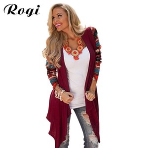 Rogi Cardigan Women Sweater 2018 Moda Aztec de manga larga con rayas Tops Casual Cardigans Air Conditioning asimétrica Camisa