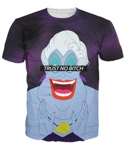 Mulheres Homens Moda Confiança Nenhuma Cadela Ursula T-Shirt Lile Sereia Ariel A Cruelest Cadela Ursula 3d Impressão Verão T Shirt Tee Tops