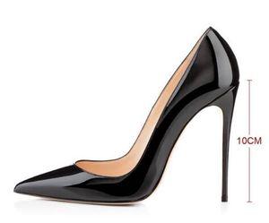Le donne di disegno classico a punta in pelle nera Nude Patent Pumps scarpe di marca 10cm 12 centimetri formali alti talloni che wedding Cheap