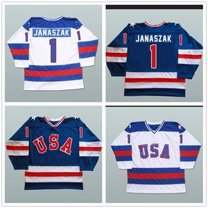 1980 Miracle On Ice Team USA # 1 Steve Janaszak # 3 Ken Morrow # 15 Mark Wells Hockey su ghiaccio Jersey Mens cucito ricamo Hockey magliette