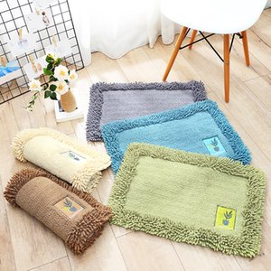Simple Solid Color Cotton Chenille Floor Mats Home Bedroom Kitchen Door Absorbent Bathroom Non-slip Soft Small Floor Mats