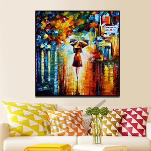 Modern Knife Oil Painting on Canvas Handmade People Passeggiata romantica nella parete della pioggia Immagine per Living Room Bedroom Wall Decor