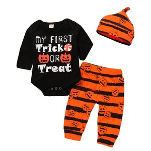 Baby Pumpkin Halloween Outfits Costume My first Halloween Letters Pagliaccetto manica lunga con pantaloni Hat 3Pcs Set 0-2Years