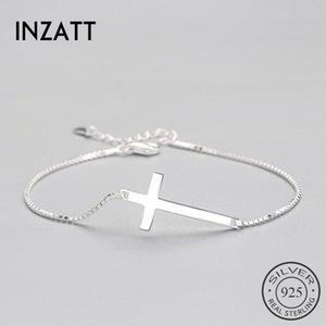 INZATT Authentique Argent 925 Classique Ethnique Croix Bracelet Minimaliste Fine Bijoux Pour Femmes Parti Accessoires À La Mode