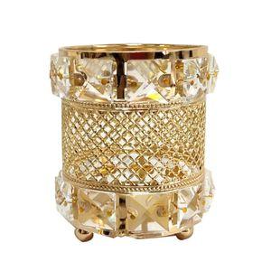 Nuovo design oro portacandele grande cristallo tavolo da pranzo centrotavola partito evento candelabro pilastro candelabri per la decorazione domestica