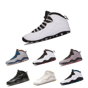 Nouveau 10 10s Hommes Baskets Classique Retour Blanc Noir Cool Gris Bobcats Chicago Acier Gris Baskets Hommes 10s Sneakers Taille 41-47
