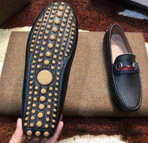 [원래 상자] 럭셔리 패션 망 Gommino 드레스 캐주얼 파티로 퍼스 신발 Cowskin 단일 구두 슬립 웨딩 펌프 블랙 Size38-46