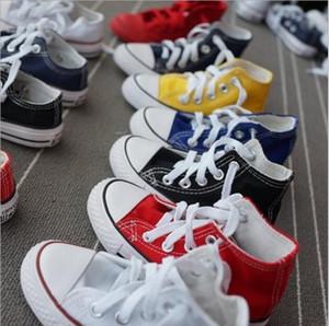 Рекламные горячие продажи дети холст обувь Мода высокая низкая Детская обувь мальчики и девочки Спорт классический холст размер обуви 23-34