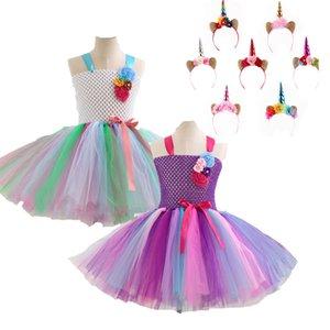 Ins Summer Hot Unicorn Rainbow Color Sling del cordón Vestidos de princesa con Diadema Unicornio Baby Girls Clothes Performance Costume M035