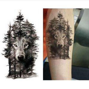 Etiqueta engomada del tatuaje temporal a prueba de agua tatuaje del lobo árbol animal tatuaje pegatinas flash tatoo tatuajes falsos para mujeres hombres brazo tatuajes
