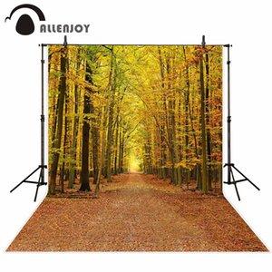 fondos al por mayor para el estudio de fotografía Marchita amarillo Hojas caídas camino de otoño bosque telón de fondo paisaje photocall