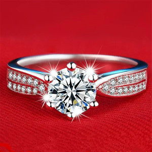 925 sterling silver classic six-claw inlaid with 1 carat simulation diamond ring jewelry fashion personality silver jewelry