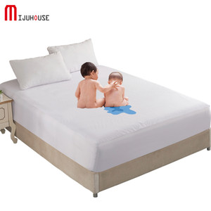 Cotton Fitted Sheet Solid Color Mattress Protector with Elastic White Waterproof Mattress Cover Pad Baby Bed Sheet Protection