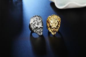 Старинные мужские кольца Hiphop мода рок золото / сталь цвет лев панк ювелирные изделия по бесплатной доставке размер: 7 # 8 # 9 # 10 # 11 # 12 #