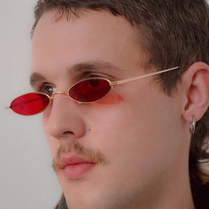 Небольшие овальные солнцезащитные очки Мужчины Женщины ретро металлический каркас желтый красный старинные крошечные круглый тощий мужской женский солнцезащитные очки UV400