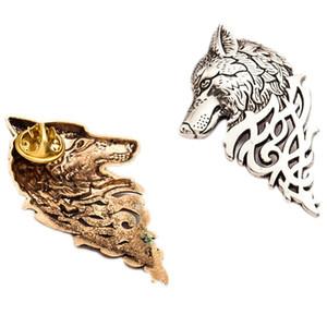 빈티지 맞춤형 늑대 머리 브로치 동물 모양의 양복 고리 핀 버클 브로치 늑대 브로치 핀 남자 선물