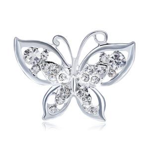 Opal Butterfly Brosche für Frauen Strass Broschen Mode Bijouterie Hochzeit Schmuck versilbert Bleifrei