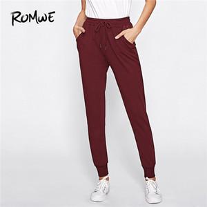 Romwe Sport Burgundy Workwear Drawstring Taille Frauen Sweatpants 2018 New Herbst Black Solid Polyester lange Sweat Pants