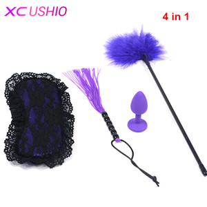 Restricción adulto 4 unids / set Feather Bondage Whip Sex Oe Oye Mask Silicone Butt Anal Tickler Toy Sex Parejas Enchufe Fetiche para juegos S924 Jwail
