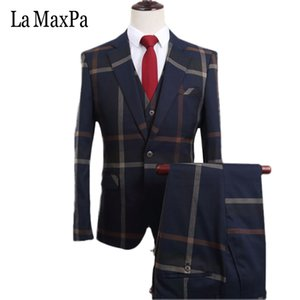 La MaxPa (jacket+pants+vest) 2017  men suits custom made wedding suit for man slim fit prom groom party high quality YB010