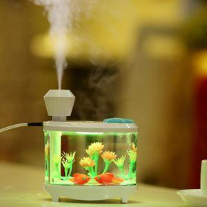 الإبداعية خزان الأسماك المرطب المنزلية البسيطة usb الهواء المرطب بالموجات جميلة ضوء الليل dc5v 460 ملليلتر رائحة النفط الناشر