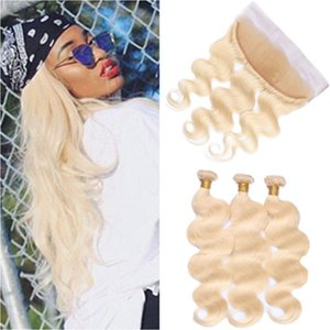# 613 Bleach Blonde Russian Russian Human Hair 3Bundles con Frontal Body Wave Blonde Full Lace Frontal Cierre con extensiones de tejidos