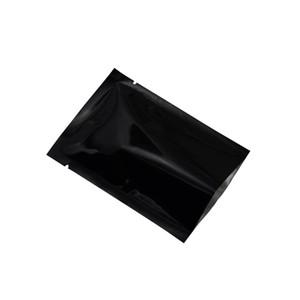 6 * 9 سنتيمتر 100 قطعة / الوحدة أسود الحرارة الختم المفتوحة الأعلى مايلر حقيبة التجزئة شقة لامعة سطح الألومنيوم احباط الحقيبة الوجبات الخفيفة الجوز الغذاء فراغ تخزين الحقيبة