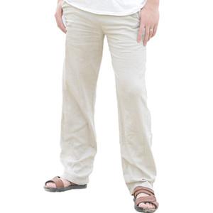 YJSFG CASA Noticias Pantalones de lino de los hombres Pantalones largos sueltos Playa de verano con cordón pantalones casuales pantalones Pantalones rectos de la manera caliente