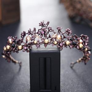 Europea Retro Antique Wedding Bride Coronas Purple Elegante Baroque Crystal Headband Mujeres Accesorios para el cabello Con Perlas Envío Gratis 2018