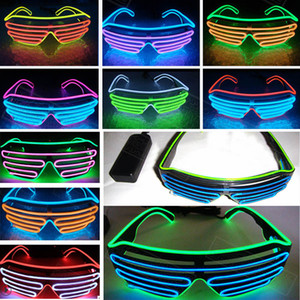 Led Party Glasses EL Wire Vetro fluorescente Flash con finestra Halloween Christmas Birthday Party Bar decorativo luminoso in vetro HH7-1448
