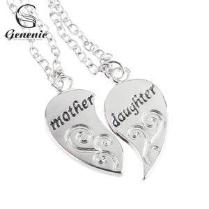 2 unid / set moda mamá madre hija amor corazón colgante collar de cadena encanto plata nueva joyería regalos
