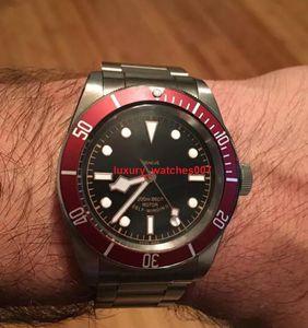2018 aço Tudorrr Marca Mens Watch inoxidável Movimento automático mecânico Red moldura Black Dial ROTOR MONTRES Sólidos Fecho Geneve Relógios