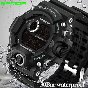 2019 Luxo Real Choque Analógico Quartz Digital Mens Watch 2018 Novo Tipo Sanda Moda G Estilo 50m Impermeável Sports Militar Relógios