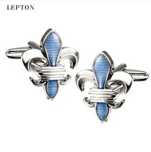 Lepton Mavi Fleur De Lis Mens Için Yüksek Kalite Açık Mavi Kol Düğmeleri Kol Düğmeleri Tasarım Manşet bağlantılar Moda Erkek Gömlek Manşetleri kol düğmeleri