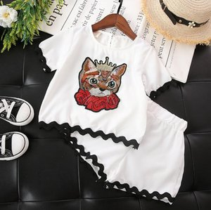 2018 Baby Girls Summer Clothes Set Kids Carton Cat Embroidery Tops T-shirt + Shorts Children 2pcs Outfits Girls Sets White 3933