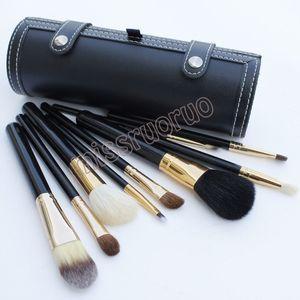 Hot Selling 9 pcs set Portable Travel Kits Wooden handle animal hair brush bucket make up brush with Round Barrel