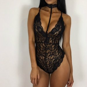 Black Lace Halter Autumn Bodysuit Women See Through Playsuit Mesh Sexy Bodycon Rompers Jumpsuits Bodysuits Overalls
