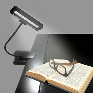 Flexible 10 LED Clip Clip-On Orchestra Music Stand Table Lámpara de piano Night Reading Book Light con adaptador de CA High Quality FAST SHIP