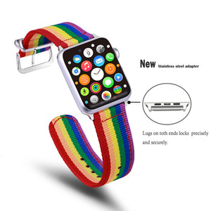 Для Apple Watch Rainbow LGBT Band iWatch Series 4/3/2/1 Wristband Weave ремни спортивная мода нейлоновый ремешок унисекс apple watch ремешок