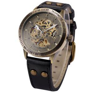 La moda de cuero de los hombres de bronce antiguo auto Widing reloj de Steampunk del esqueleto de energía masculino relojes mecánicos automáticos