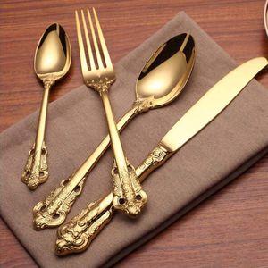 Yüksek Kalite Lüks Altın Yemek Seti Altın Kaplama Paslanmaz Çelik Çatal Seti Düğün Yemek Bıçağı Çatal Çorba Kaşığı