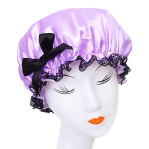 1pc bello spesso donne cuffia per la doccia impermeabile ragazze bagno doccia copertura capelli pizzo elastico cappello cappello cuffia da bagno colore della caramella