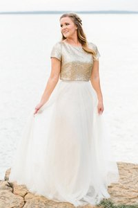 Dos piezas de vestidos de dama de Champagne de las lentejuelas chaqueta larga fiesta de la boda vestido de damas de honor junior vestido largo de la falda de tul