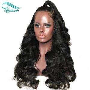 Bythair 130% 150% de densidad Pelucas delanteras de encaje de cabello humano pre arrancadas con base de seda de pelo de bebé Peluca de encaje completo para mujeres